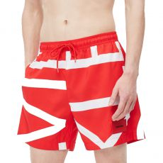 SHORT DE BAIN MEDIUM DRAWSTRING ABSTRACT IMPERIAL ROUGE M00274  - CALVIN KLEIN
