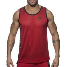 DEBARDEUR PRINTED TAPE TANKTOP EN MESH ROUGE AD767 - ADDICTED