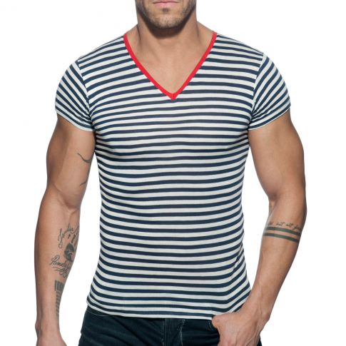 T-SHIRT COL V SAILOR ROUGE AD588 - ADDICTED