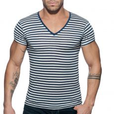 T-SHIRT COL V SAILOR MARINE AD588 - ADDICTED