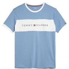T-SHIRT BLEU COL ROND LOGO TOMMY HILFIGER UM0UM01170  - TOMMY HILFIGER