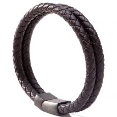 BRACELET DOUBLE TRESSE MARRON - MENGENERATION