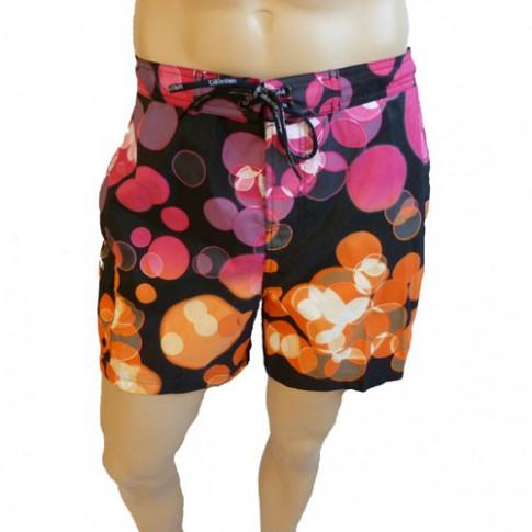 CK Swimwear - SHORT DE BAIN MEDIUM NOIR/ORANGE 58113W2-900