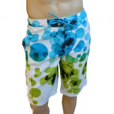 CK Swimwear - SHORT DE BAIN LONG BLANC/BLEU 58115W2-055