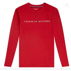 T-SHIRT ROUGE MANCHES LONGUES COL ROND LOGO TOMMY HILFIGER UM0UM01171  - TOMMY HILFIGER