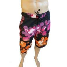 CK Swimwear - SHORT DE BAIN LONG NOIR/ORANGE 58115W2-900