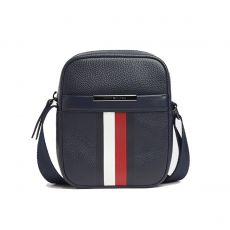 BESACE TH DOWNTOWN CORP MINI REPORTER CUIR GRAINE MARINE AM0AM05455 - TOMMY HILFIGER