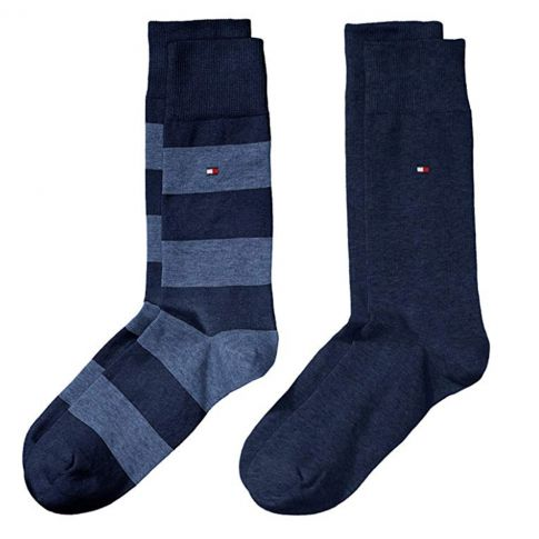 CHAUSSETTE PACK 2 PAIRES BLEU MARINE GROSSES RAYURES - TOMMY