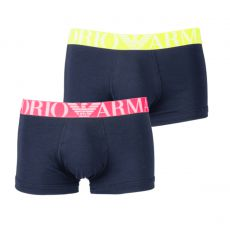 PACK DE 2 BOXERS COURTS FLUO LOGOBAND MARINE -  EMPORIO ARMANI
