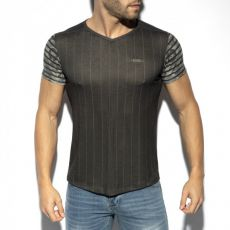 T-SHIRT FLOWERY STRIPED NOIR TS281 - ES COLLECTION