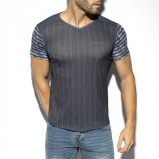 T-SHIRT FLOWERY STRIPED MARINE TS281 - ES COLLECTION
