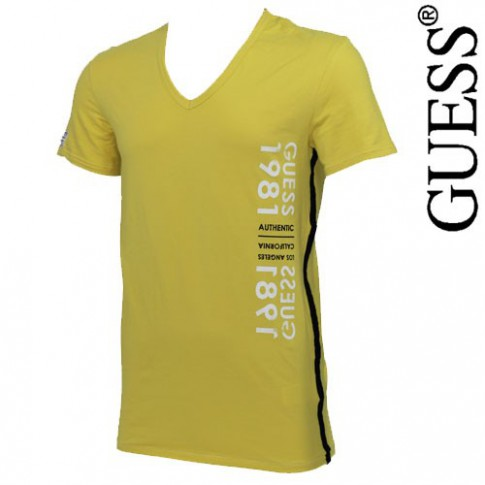 GUESS - T-SHIRT JAUNE MOUTARDE STAZ UC7U2A