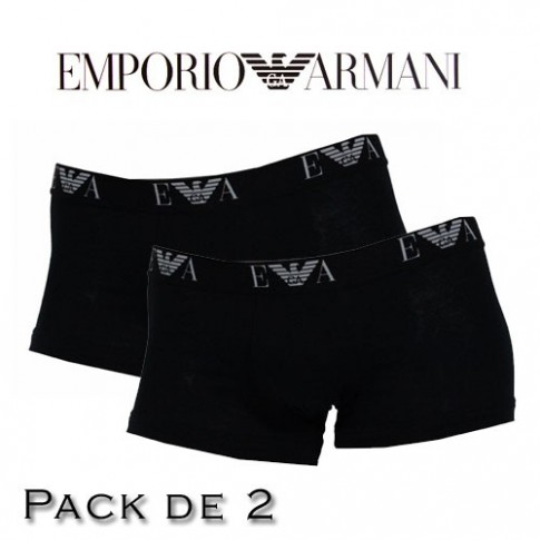 EMPORIO ARMANI - LOT DE 2 BOXERS NOIRS EAGLE