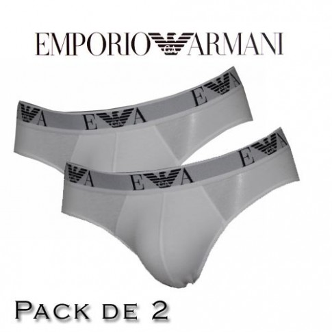 EMPORIO ARMANI - LOT DE 2 SLIP BLANC EAGLE