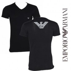 T-SHIRT ARMANI EAGLE COLLE EN V NOIR