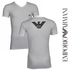 T-SHIRT ARMANI EAGLE COLLE EN V BLANC