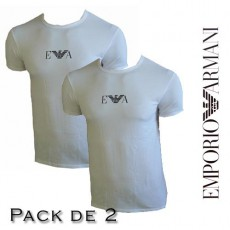 LOT DE 2 T-SHIRT ARMANI GIROCOOLO COLLE ROND BLANC