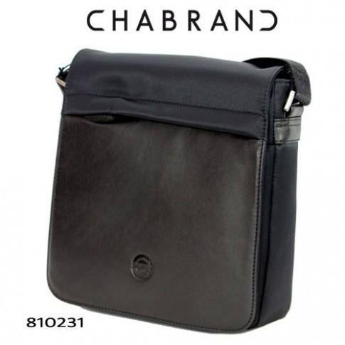 CHABRAND – BESACE NOIRE EN TOILE AVEC RABAT EN CUIR 81023-1