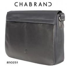 CHABRAND –  GRANDE BESACE MESSENGER NOIRE EN TOILE AVEC RABAT EN CUIR 81025-1