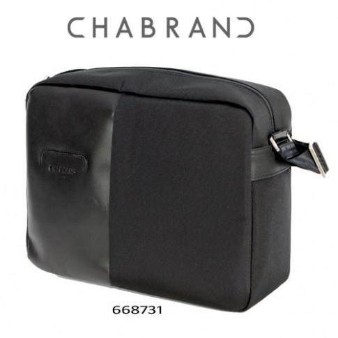 CHABRAND –  GRANDE BESACE LIGNE LUXOR NOIRE EN TOILE ET EN CUIR 66873-1