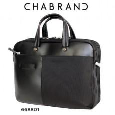 CHABRAND –  PORTE DOCUMENTS  LIGNE LUXOR NOIRE EN TOILE ET EN CUIR 66880-1