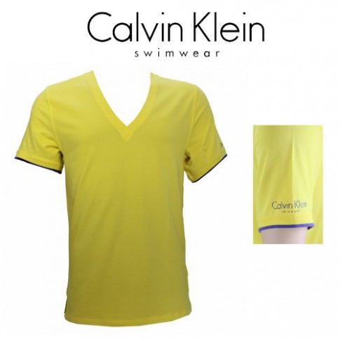 CK SWIMWEAR - T-SHIRT COL EN V JAUNE 58260Z3-272