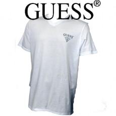 GUESS – T-SHIRT COTON COL V BLANC
