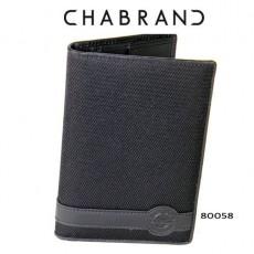 CHABRAND – PORTEFEUILLE VERTICAL EN TOILE GARNIE ET CUIR