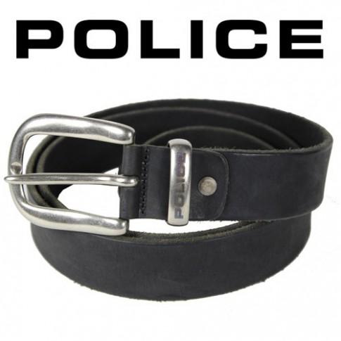 POLICE - Ceinture basique Cuir noir vieilli