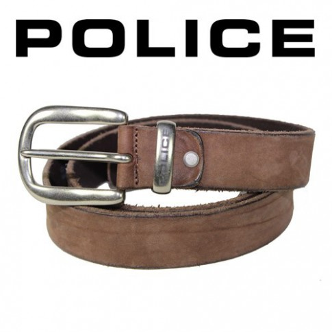 POLICE - CEINTURE BASIQUE CUIR MARRON VIEILLI