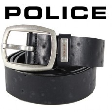 POLICE - CEINTURE FORATA CUIR NOIR VIEILLI