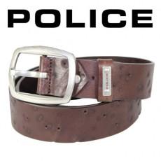 POLICE - CEINTURE FORATA CUIR MARRON VIEILLI