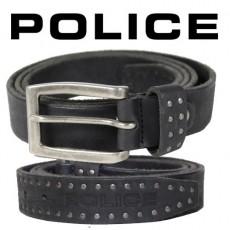 POLICE - CEINTURE SOTTILE CUIR NOIR VIEILLI LOGOTE
