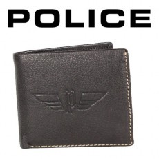 POLICE - PORTEFEUILLE UNIQUE PICCOLO 3 VOLETS CUIR MARRON