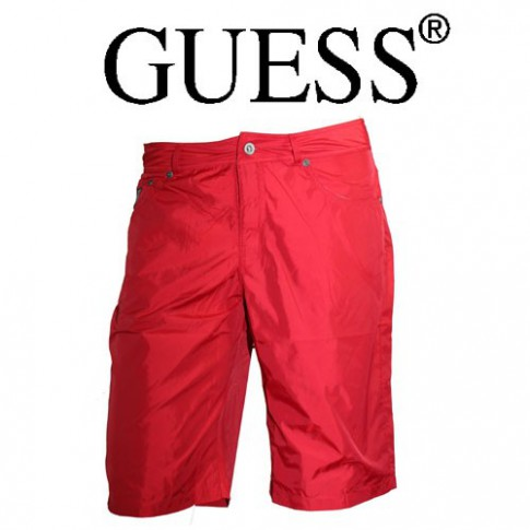 GUESS – SHORT DE BAIN EFFET JEANS LONG ROUGE