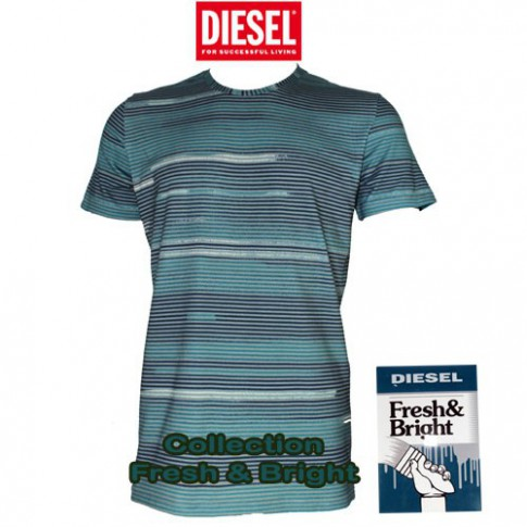 DIESEL – T-SHIRT TURQUOISE A RAYURES FRESH & BRIGHT ANDRE MUTANDE