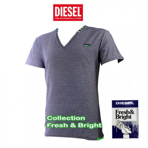 DIESEL - T-SHIRT COTON RAYURES FINES VIOLET FRESH & BRIGHT