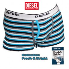 DIESEL - BOXER COTON RAYURES NAVY TURQUOISES FRESH & BRIGHT