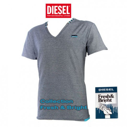 DIESEL - T-SHIRT COTON RAYURES FINES NAVY FRESH & BRIGHT