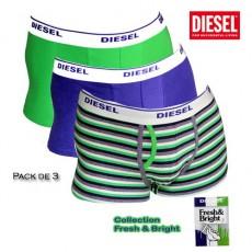 DIESEL - PACK DE 3 BOXERS COTON RAYES VERT FRESH & BRIGHT