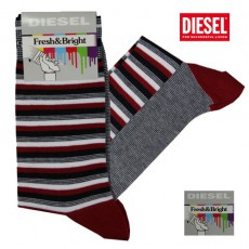 DIESEL - CHAUSSETTES RAYEES ROUGES NOIRES FRESH & BRIGHT