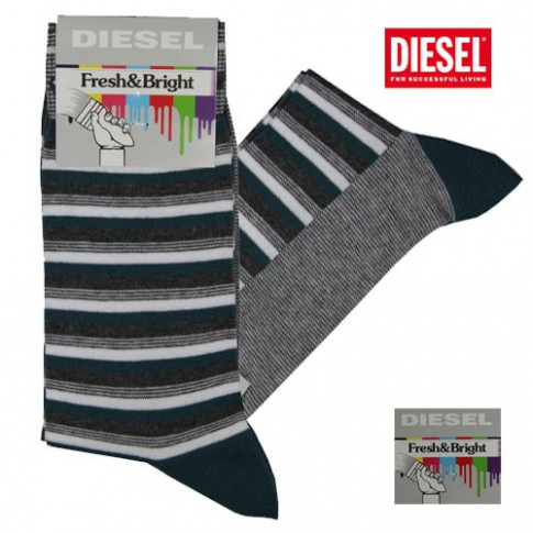 DIESEL - CHAUSSETTES RAYEES VERTES GRISES FRESH & BRIGHT