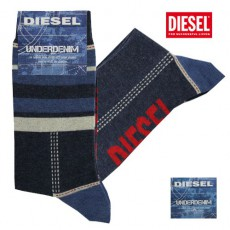 DIESEL - CHAUSSETTES MIXES RAYURES/UNIES BLEUES RAY  DENIM
