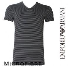 T-SHIRT MICROFIBRE RAYE EMPORIO ARMANI CARBONE COL EN V LOGO 110810 3A553 04020