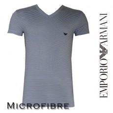 T-SHIRT MICROFIBRE RAYE EMPORIO ARMANI BLANC COL EN V LOGO 110810 3A553 27510