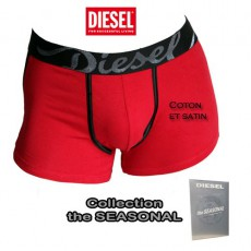 DIESEL -  BOXER COTON ET SATIN ROUGE  SHAWN THE SEASONAL