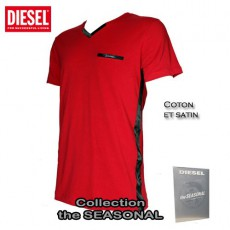 DIESEL - T-SHIRT COTON  ROUGE ET SATIN MICHAEL THE SEASONAL