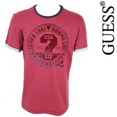 GUESS - T-SHIRT LOUNGWEAR BORDEAUX 100 % COTON