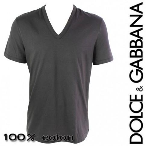 DOLCE&GABBANA - T-SHIRT HOMME COL EN V GRIS ANTHRACITE