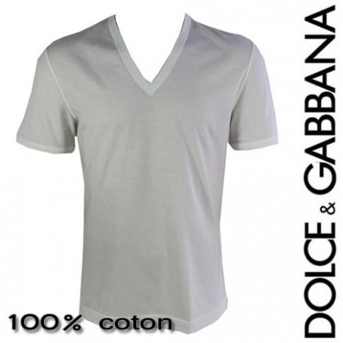 DOLCE&GABBANA - T-SHIRT HOMME COL EN V BLANC